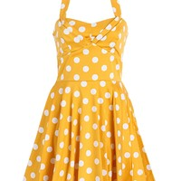 Yellow Polka Dot Full Skirt Cotton Sateen Retro Vintage 50s Dress Neckholder - Size Small