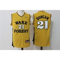 NCAA University Basketball Jersey Wake Forest Demon Deacons # 21 Tim Duncan Yellow