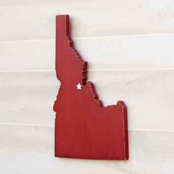 Idaho state shape sign wood cutout wall art with heart or star 24 Colors. Wedding Guestbook Anniversary Gift Country Cottage Chic Decor