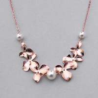 Double orchid, Triple pearl, Gold, Silver, Rose gold, Necklace, Lovers, Friends, Mom, Sister, Gift