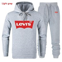 Levis Autumn And Winter New Fashion Letter Print Women Men Hooded Long Sleeve Sweater And Pants Two Piece Suit Light Gray