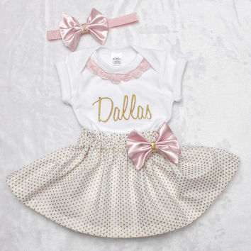 Baby girl coming home outfit pink and gold sparkle babyshower present monogrammed newborn shirt and skirt with satin bows baby bling