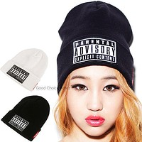 Perfect Embroidery Hiphop Women Men Beanies Winter Knit Hat Cap