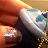 Blueberry Cupcake Charm- Sculpey clay