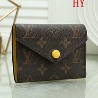 LV Louis Vuitton Hot Sale Fashion Printed Letter Button Small Wallet Key Case bag Coffee lv print