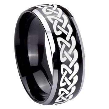 8mm Celtic Knot Love Dome Glossy Black 2 Tone Tungsten Mens Wedding Ring