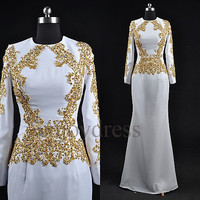 Custom White Applique Beaded Middle East Long Prom Dresses Formal Evening Gowns Fashion Long Sleeves Party Dress Evening Dresses
