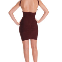 Sexy Cut out Dark Red Burgundy Bandage Dress, Knit Stretch Dress, Women's MODERN Dress