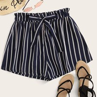 Drawstring Waist Striped Paperbag Shorts