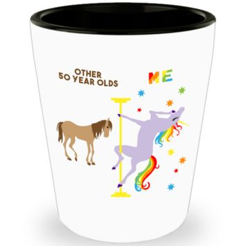 50th Birthday Gift For Women Funny 50th Birthday Present 50 And Fabulous 50th Bday Gifts for Her Fiftylicious Dancing Unicorn Ceramic Shot Glass