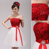 Prom dress zipper lace miniskirt bridesmaid party evening dress elegant wedding dress = 1956780676