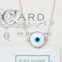 Tiny Stacking Necklace | Dainty 14k Yellow Gold Necklace | Evil Eye | Snow White Charm Necklace | Minimal Jewelry | All Seeing Eye Necklace