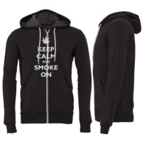 Keep Calm and Smoke On Zipper Hoodie