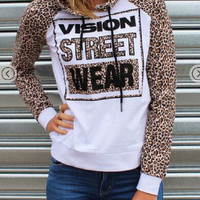 Leopard Letter Print Hoodie Sweater