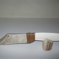Moose antler handle knife with a bone blade..E2.....Rustic primitive inspired one of a kind handmade ornamental knife.