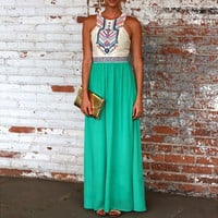 Color Block Sleeveless Pleated A-Line Maxi Dress