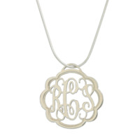 Monogrammed Floating Filigree Necklace | Initials in Pewter | Jewelry