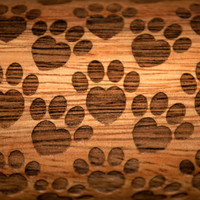 Puppy or Kitty Paws design, Rolling Pin - laser engraved embossing pin! Includes *BONUS* custom design display holder too!