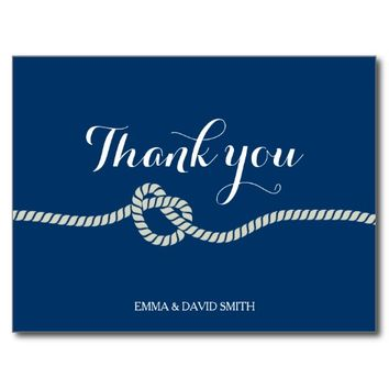 Plain Royal Blue Tying the Knot Thank You Cards