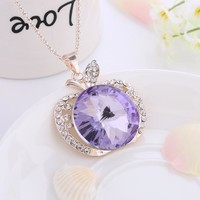 Jewelry New Arrival Shiny Gift Stylish Classics Crystal Apple Sweater Chain Rhinestone Accessory Necklace [6049354177]