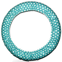 White Dots/Turquoise Steering Wheel Cover, Cute Girly Cotton Car Wheel Cover, Handmade in USA, Custom Car Accessory