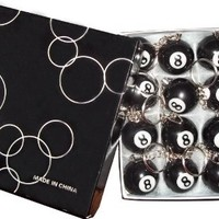 (LOT OF 16) 8 Ball Keychain Pool Billiards League Giveaway Party Favor Collectible Novelty - 1 box of keychains