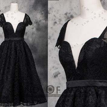 Two Shoulder Black Lace Party Dresses,lace prom dresses,party dresses,evening dress,lace evening dress,lace bridesmaid dresses
