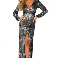 Carlotta Gray and Metallic Silver Animal Print Long Sleeve Maxi Gown