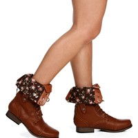 SALE-Whiskey Lace Up Back Zipper Combat Boots