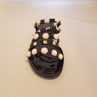Strappy Pearl Embellished Jelly Slides