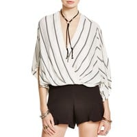 Free People Womens Striped Dolman Sleeves Blouse