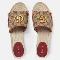 GUCCI New fashion more letter canvas flip flop slippers shoes