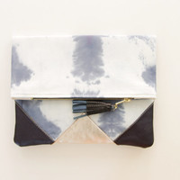 SUNSET 19 / Shibori dyed cotton & Natural leather folded clutch bag - Ready to Ship