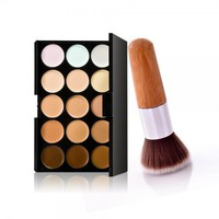 15-Color Concealer Palette & Bamboo Handle Powder Brush Kit