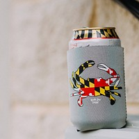 Maryland Full Flag Crab (Grey) / Can Cooler
