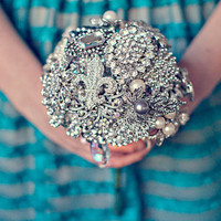 Crystal and Pearl Wedding Brooch Bouquet by SilverStems