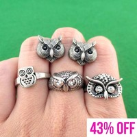 Owl Inspired Animal Ring and Stud Earring 4 Piece Set