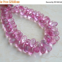 51% Off Mystic Pink Topaz Gemstone Briolette Faceted Teardrop 7.5mm 15 beads