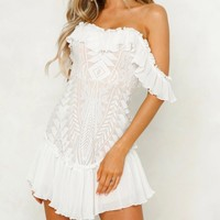 Lace off the Shoulder Pleated Ruffled Dress - more colors