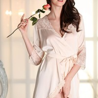Kimonos Women Sexy Nightwear Faux Silk Robe With Sashes Lace Splicing Satin Bathrobe For Ladies Nightwear Robes Sleepwear