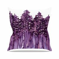 "Ebi Emporium ""Forest Through The Trees 2"" Purple White Outdoor Throw Pillow"