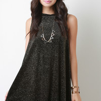 Velvet Glitter Sleeveless High Low Flare Cocktail Dress