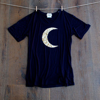 Sequin Chevron Arrow or Moon  Slouchy T Shirt -  Tee with a Sequin Patch of Your Choice - Navy Blue