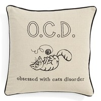 Levtex 'Obsessed With Cats Disorder' Pillow - Brown