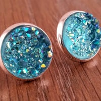 Druzy earrings- ab light blue drusy silver tone stud druzy earrings