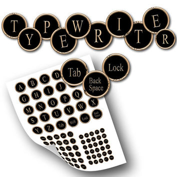 Cracked Typewriter key images in 1 inch,16mm,12mm set for Jewelry Making, Bottle caps Printable Digital Collage Sheet