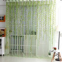 French Shower Valance Curtain Living Room Sheer Curtain Tulle Voile Sallow Willow Wicker Flocked Window Home Decorations
