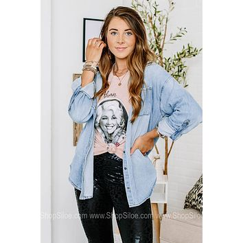 Count Me In Denim Button Down Top
