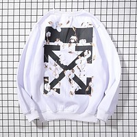 OFF WHITE Autumn Winter Print Long Sleeve Cotton Sweater Sweatshirt White