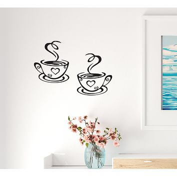 Wall Decal Cup Love Kitchen Coffee Cafe Interior Vinyl Decor Black 22.5 in x 15.5 in gz481